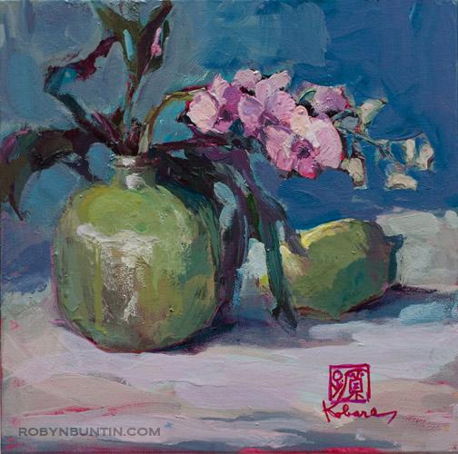 Still Life with Green Vase and Lemon by Tomi Kobara